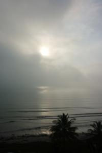 Morning sun burning away fog, Tucacas, Venezuela