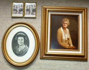 Photos of Bette Hutchison Silver at various stages of her life. Upper left is with her two daughters, Lonna on left, Pamela on right.