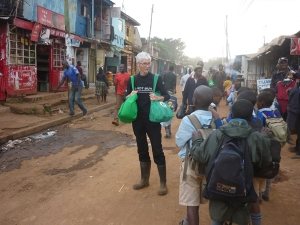 On the street, near our office, with school children, small shops