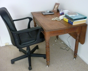 Bette's kitchen table, now a desk