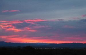Red Sunset, hills beyond Tucacas Venezuela