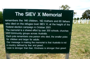 SIEV X Memorial sign Canberra Australia