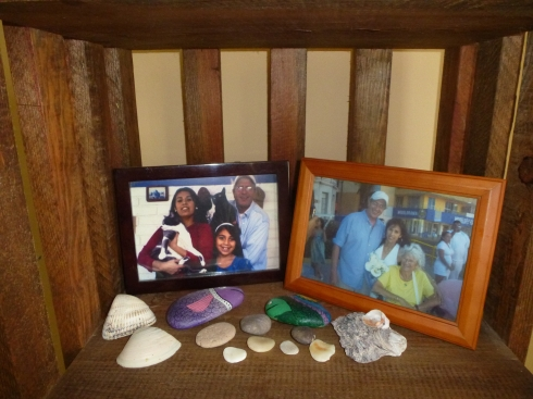 Informal altar to Lon, Olivia and Bette Hutchison Silver, July 2014, Mazatlan Mexico