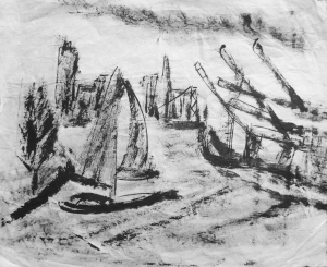 Ink Drawing Oakland port 239